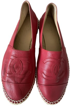 Chanel Red Leather Espadrilles