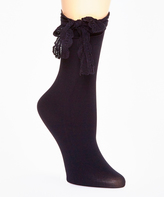 Me Moi Black Ribbon Chic Anklet Socks