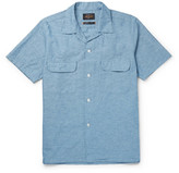 Beams Camp-Collar Cotton and Hemp-Blend Chambray Shirt