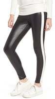 David Lerner Women's Tuxedo Stripe Zip Faux Leather Leggings