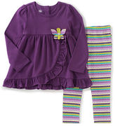 Kids Headquarters Baby Girls Two-Piece Butterfly Tunic and Striped Leggings Set