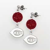 Logoart LogoArt Cincinnati Reds Sterling Silver Crystal Ball Drop Earrings