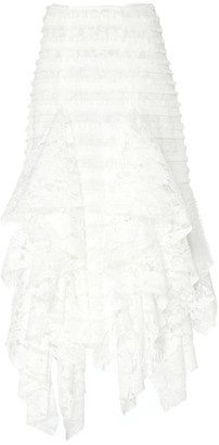 ANAÏS JOURDEN Ruffle-Trimmed Fringed Lace Lace Midi Skirt