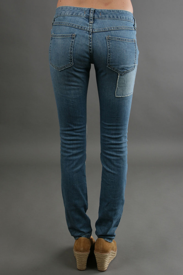 Free People Patched Skinny Jean in Blue