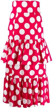 Sara Battaglia Layered Polka Dot Skirt