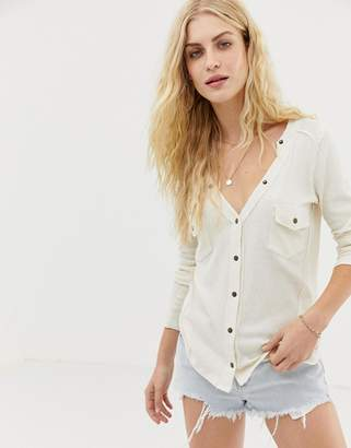 Free People Starlight v-neck henley top-White