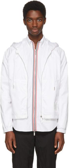 Thom Browne White Mesh Hooded Jacket