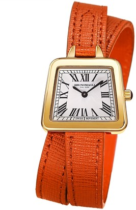 Bruno Magli Women's Emma 1143 Double Wrap Embossed Leather Strap Watch, 30mm
