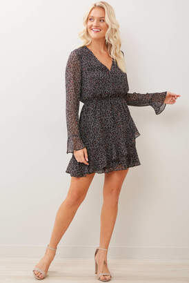Cupcakes And Cashmere Amity Speckled Leopard Dress Black Multi S