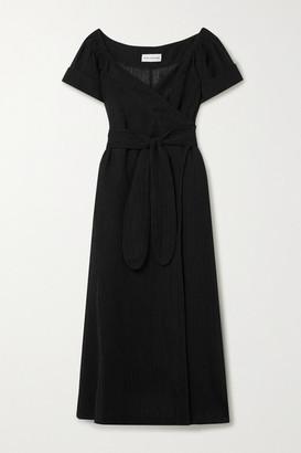 Mara Hoffman Net Sustain Adelina Crinkled Organic Linen And Cotton-blend Gauze Wrap Maxi Dress