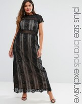 Truly You Paneled Lace Maxi Dress With Cap Sleeve