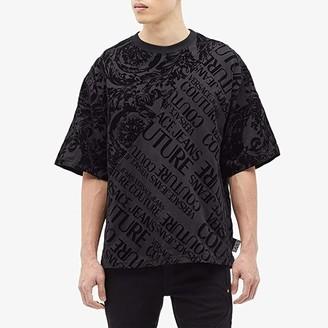 Versace Oversize Fit Flocked T-Shirt (Black) Men's Clothing