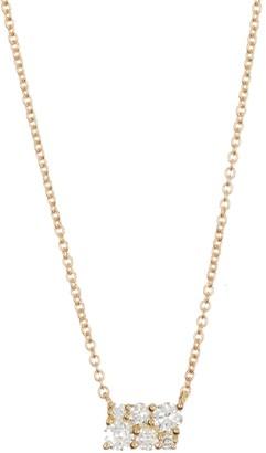 Bony Levy 18K Yellow Gold Diamond Cluster Pendant Necklace - 0.19 ctw