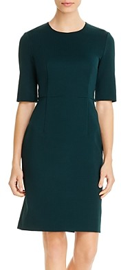 BOSS Daxine Vichy Check Elbow-Sleeve Dress