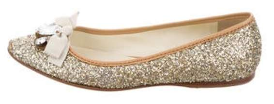 7c171567ea Glitter Bow Flats Gold Glitter Bow Flats
