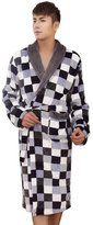 Panegy Men's Bathrobe Printing Mink Fleece Robe Pajamas Sleepwear Size XXXL - Dark Grey
