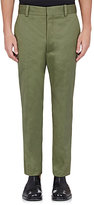 Balenciaga Men's Cotton-Blend Straight-Leg Crop Trousers-Dark Green