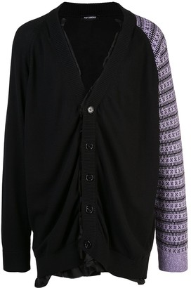 Raf Simons contrast sleeve knitted cardigan
