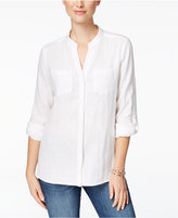 Charter Club Linen Windowpane-Back Shirt, Only at Macy's