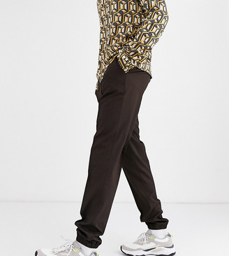 ASOS DESIGN Tall slim cropped smart pants with jogger cuff in brown