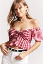 Forever 21 Gingham Peplum Crop Top