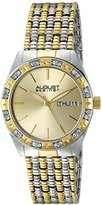 August Steiner Women's AS8177TTG Silver and Yellow Gold Crystal Accented Quartz Watch with Gold Dial and Two Tone Bracelet