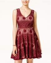 City Studios Juniors' Contrast Lace Fit & Flare Dress