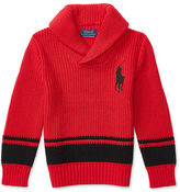Ralph Lauren Striped Cotton Shawl Sweater