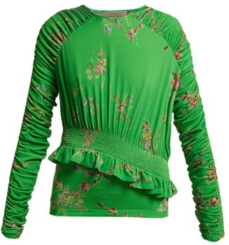 Preen by Thornton Bregazzi Toyin Floral-print Ruched-crepe Jersey Top - Green Multi