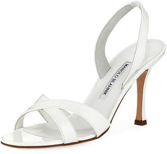 Manolo Blahnik Callasli Patent Leather Slingback Sandals