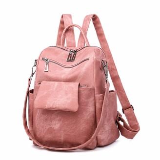 EVEOUT Women's PU Leather Backpack Multi-Pockets Travel Bag Anti Theft Rucksack Adjustable Shoulder Straps Casual Shoulder Bag School Bag Daypack Rucksack
