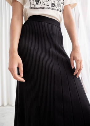 And other stories Asymmetrical Pleated Knit Midi Skirt
