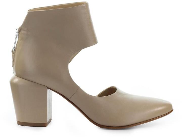 Elena Iachi Beige Dorsay Ankle Boot