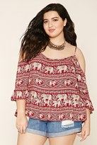 Forever 21 FOREVER 21+ Plus Size Elephant Print Top