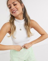 Pieces ribbed crop top with halterneck in white