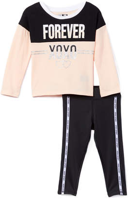XOXO Sport SPORT Girls' Leggings PALE - Pale Blush Color Block 'Forever' Scoop Neck Top & Side-Stripe Leggings - Toddler & Girls