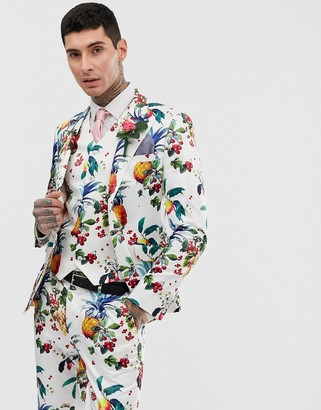 Asos Design DESIGN wedding super skinny suit jacket with all over fruit floral print-White