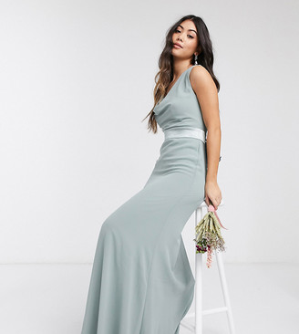 TFNC Petite bridesmaid cowl neck bow back maxi dress in sage