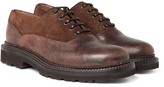 Brunello Cucinelli Suede-trimmed Distressed Leather Oxford Shoes - Chocolate
