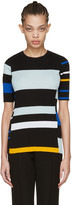 Proenza Schouler Black Striped Short Sleeve Pullover
