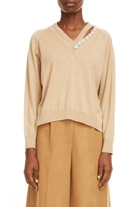 Simone Rocha Embellished High/Low Wool & Silk Sweater