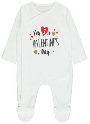 George White My First Valentine's Day Slogan Sleepsuit