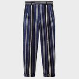 Paul Smith Men's Navy Cotton-Silk Pyjama-Stripe Tapered Trousers