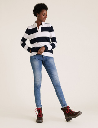 Marks and Spencer Pure Cotton Rugby Striped Straight Fit Top