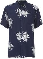 OBEY Clothing Men's Palm Fan Woven Short Sleeve Shirt Navy/White Print
