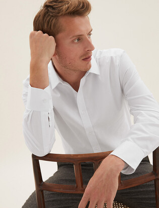 Marks and Spencer Regular Fit Textured Easy Iron Shirt