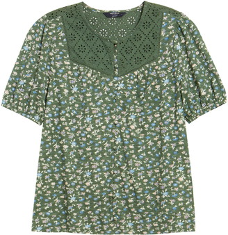 Lucky Brand Floral Button Blouse