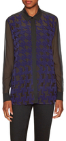 Mary Katrantzou May Silk Embroidered Houndstooth Blouse