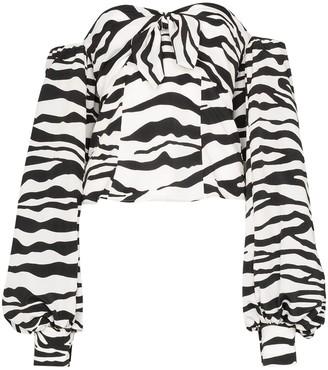 The Attico Zebra-Print Pouf-Sleeve Blouse