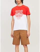 Kenzo Contrast-panel logo-print cotton-jersey T-shirt